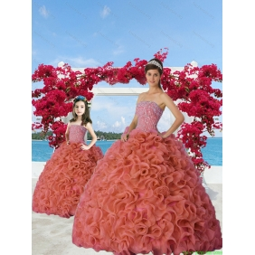 Classcial Beading and Ruffles Rust Red Princesita With Quinceanera Dress