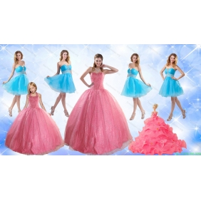 Cute Ball Gone Quinceanera Dress and Beading Baby Blue Dama Dresses and Rose Pink Halter Top Little Girl Dress