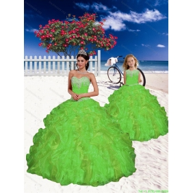 Fashionable Appliques and Beading Princesita with Quinceanera Dress in Spring Green