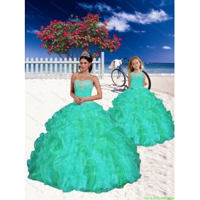 Modest Turquoise Princesita with Quinceanera Dress with Appliques and Beading for 2015