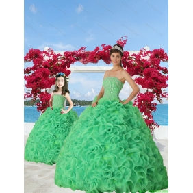 New Arrival Spring Green Princesita With Quinceanera Dress with Beading and Ruffles for 2015 Spring