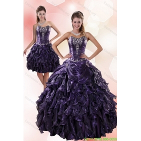 Plus Size Sweetheart Ruffled 2015 Quinceanera Dresses with Embroidery