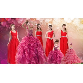Ruffles One Shoulder Sweet 16 Dress and Red Long Beading Prom Dresses and Ball Gown Straps Beading Little Girl Dress