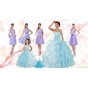 Strapless Ruffles Elegant Quinceanera Dress and Lavender Mini Length Prom Dress and  Appliques and Ruffles Baby Blue Little Girl Pageant Dress