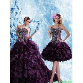 Sweetheart Burgundy Plus Size Quinceanera Dress with Ruffles and Beading