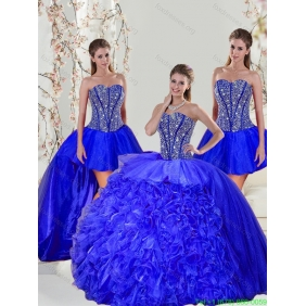 2015 Brand New Beading and Ruffles Quinceanera Dresses in Royal Blue