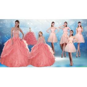 2015 Perfect Sweetheart Beading Quinceanera Dress and Cute Bowknot Prom Dresses and Halter Top Watermelon Little Girl Dress