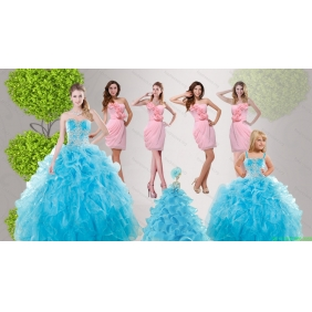 Baby Blue Ruffles Quinceanera Dress and Hand Made Flowers Baby Pink Dama Dresses and Straps Appliques Little Girl Dress