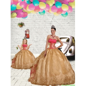 Beading Strapless Princesita With Quinceanera Dress in Gold with Embroidery