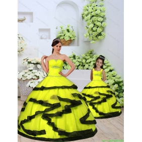 Classical Organza Yellow Princesita With Quinceanera Dress with Beading and Ruching for 2015