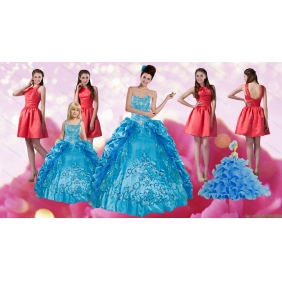 Embroidery and Pick Ups Quinceanera Dress and Ruching Short Dama Dresses and Spaghetti Straps Teal Little Girl Dress