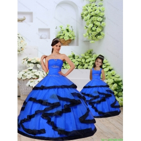 Most Popular Beading and Ruching Royal Blue Princesita With Quinceanera Dress for 2015