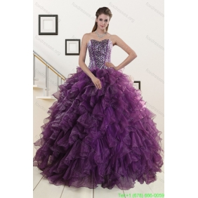 Plus Size Purple Quinceanera Dresses with Beading and Ruffles