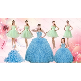 Ruffles Beading Ball Gown Quinceanera Dress and Sash Short Apple Green Dama Dresses and  Halter Top Little Girl Dress