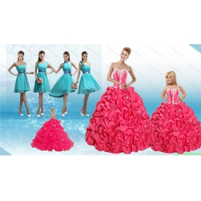 Sweetheart Pick Ups and Appliques Quinceanera Dress and Baby Blue Short Dama Dresses and Strapless Pick Ups Little Girl Dress