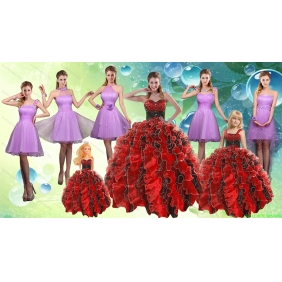 Sweetheart Ruffles Multi Color Quinceanera Dress and Knee Length Ruching Dama Dresses and Multi Color Little Girl Dress