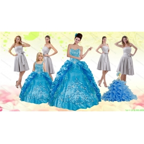 Teal Sweetheart Embroidery Quinceanera Dress and Strapless Short Dama Dresses and Spaghetti Straps Ruffles Flower Girl Dress