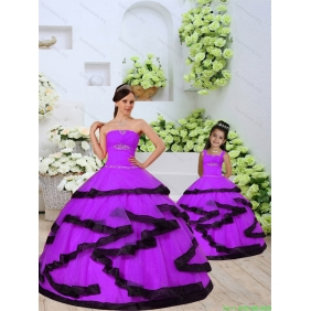 Top Seller Beading and Ruching Princesita With Quinceanera Dress in Eggplant Purple for 2015