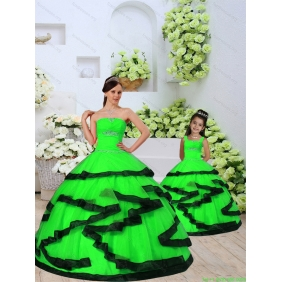 Trendy Beading and Ruching Spring Green Princesita With Quinceanera Dress for 2015 Spring