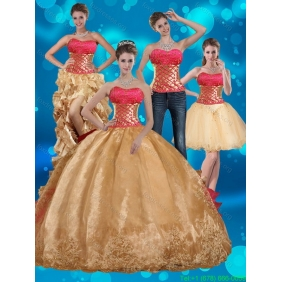 2015 Gold Strapless Quinceanera Dresses with Beading and Embroidery