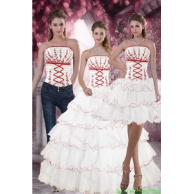 2015 Lovely White Quince Dresses with Appliques and Ruffled Layers for 2015