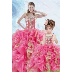 2015 Luxurious Beading and Ruffles Organza Princesita With Quinceanera Dress in Multi-color