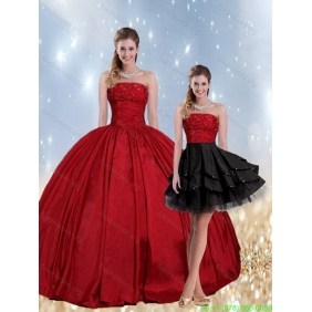 2015 Strapless Beaded Quinceanera Dresses in Red and Black