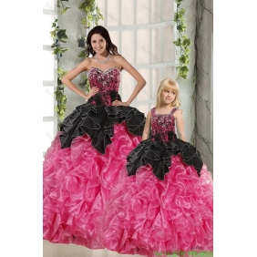 Ball Gown Beading and Ruffles 2015 Princesita With Quinceanera Dress in Rose Pink and Black