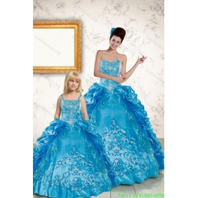 Elegant Sweetheart Embroidery Princesita With Quinceanera Dress in Blue