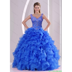 Exquisite Beading and Ruffles Royal Blue 2015 Quinceanera Dresses