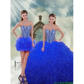 Most Popular Royal Blue 2015 Quinceanera Dresses with Beading and Ruffles