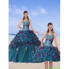Multi Color 2015 Quinceanera Dresses with Hand Made Flower and Pick Ups