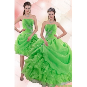 Plus Size 2015 Pick Ups and Beading Quince Gowns in Spring Green