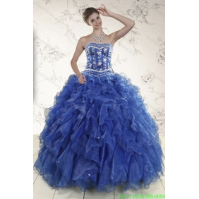 Plus Size  Beading and Ruffles 2015 Quinceanera Dresses in Royal Blue