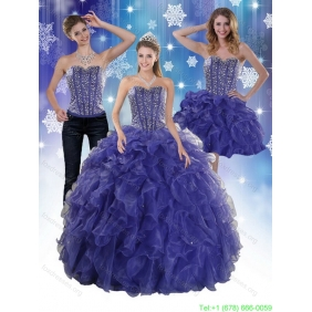 Plus Size Hot Beading and Ruffles Quince Dresses in Royal Blue