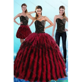 Plus Size Multi Color Sweetheart Sweet 16 Dresses with Ruffles and Beading