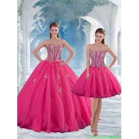 Sweetheart Hot Pink Sequins and Appliques 2015 Quinceanera Dresses