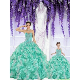 Apple Green Sweetheart Organza Beading and Ruffles Princesita With Quinceanera Dress