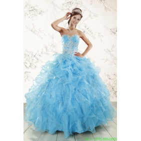 Aqua Blue Ball Gown Sweetheart Beading Quinceanera Dresses