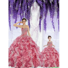 Beautiful Organza Beading and Ruffles Rust Red Princesita With Quinceanera Dress
