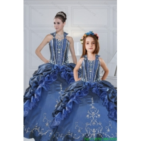 Classical Sweetheart Navy Blue Princesita With Quinceanera Dresses with Embroidery