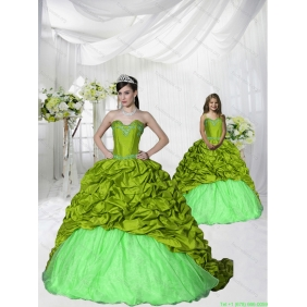 Most Popular Brush Train Olive Green Princesita With Quinceanera Dress with Appliques and Pick-ups