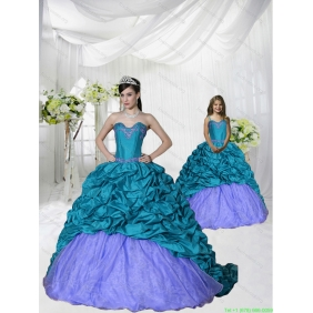 New Style Appliques Brush Train Blue and Purple Princesita With Quinceanera Dress