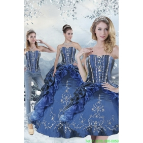 Plus Size Blue Sweet 15 Dresses with Embroidery and Beading for 2015