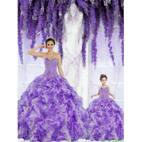 Top Seller Beading and Ruffles Lavender Princesita With Quinceanera Dress for 2015