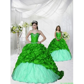 Trendy Appliques Brush Train Spring Green Princesita With Quinceanera Dress for 2015 Spring
