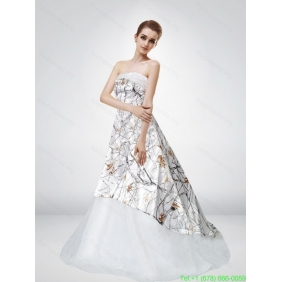 2015 Popular Strapless Court Train Camo Wedding Dresses with Ruching