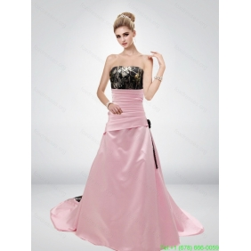 Pink A Line Strapless Popular Camo Wedding Dresses with Hand Made Flower