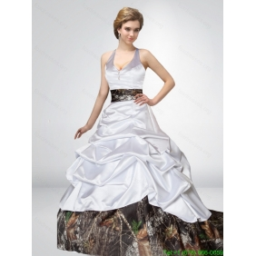 Popular A Line Camo Wedding Dresses with Bowknot and Side Zipper