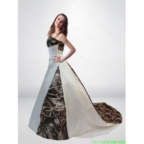 Popular A Line Strapless Camo Wedding Dresses with Chapel Train